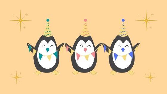 喜ぶ3匹のペンギンのイラスト